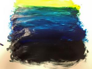 Process: hand painting. Mixing colours on ocean landscape. -Nejood